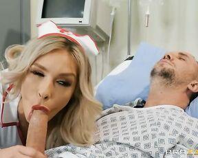 Жаркая медсестра в чулках разбудила пациента отсосом и нарвалась на жесткий секс